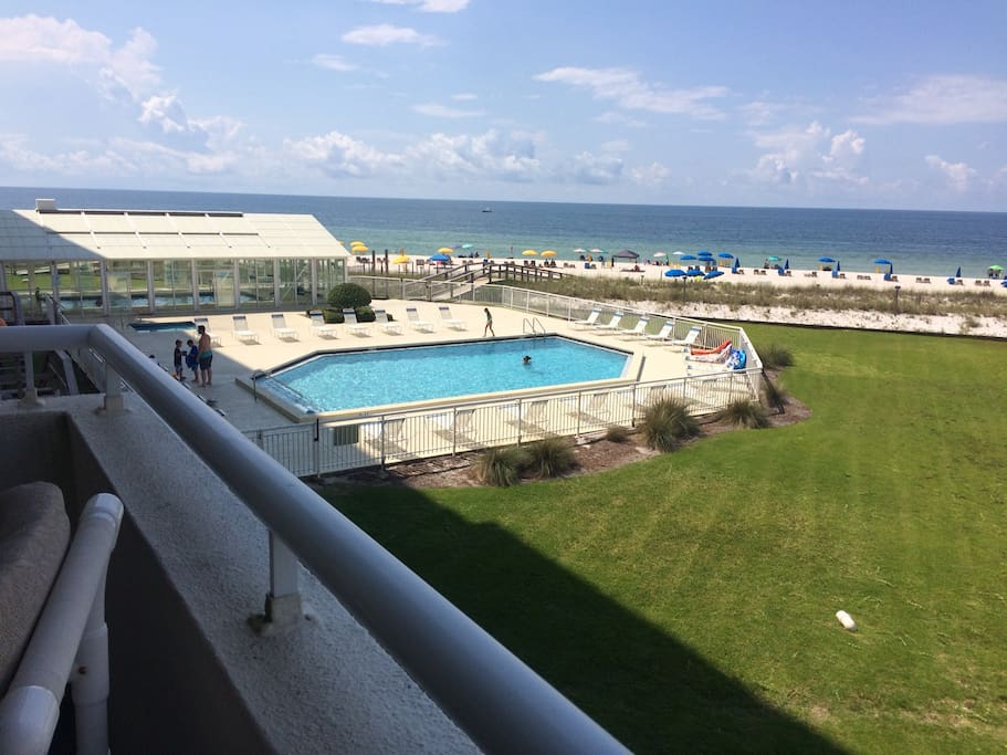 View of Outdoor and Indoor Pools  and Hot Tub from Balcony