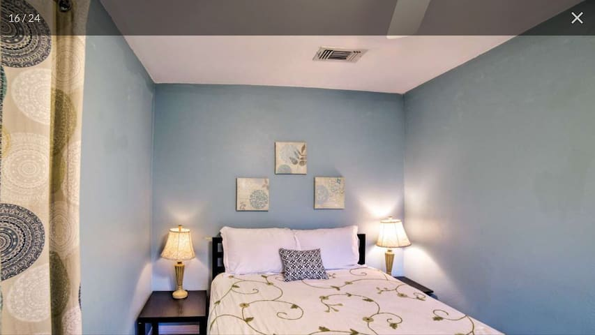 The blue room's Queen-sized pillow-topped bed
