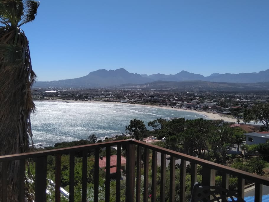View of the Hottentots Holland mountains and Gordon's Bay main beach from balcony