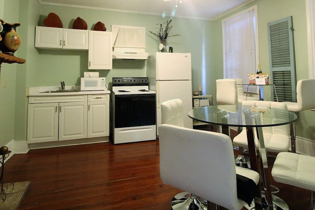 The kitchen is fully equipped with all dishes and cookware needed for a home cooked meal.
