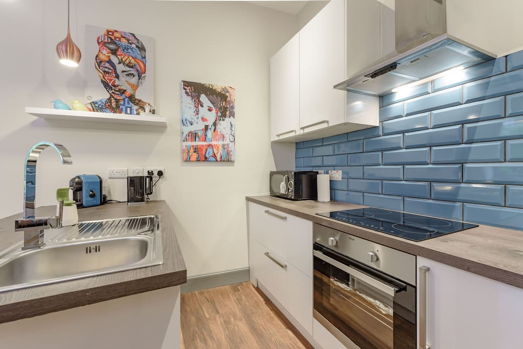 Kitchen is fully equipped with espresso maker, kettle, fridge/freezer, hob/oven, microwave, washer, etc.