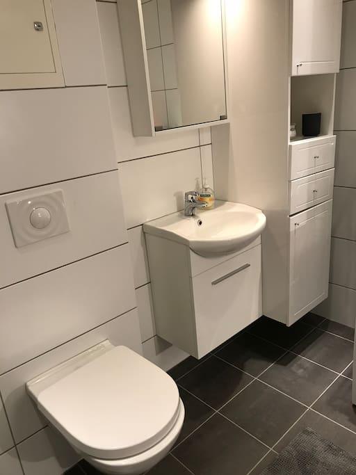Toalett, vask. Håndklær kan lånes.