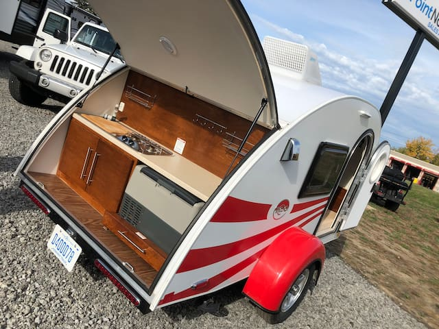 Adorable retro teardrop trailer