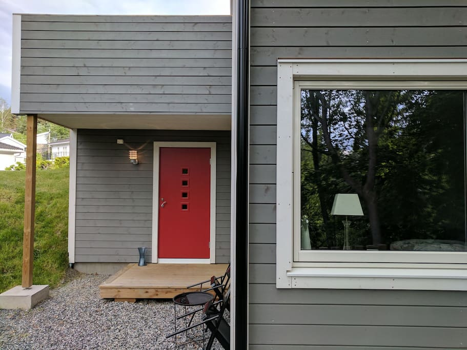 Private entrance to the studio. The window is your view into the green forest we live in.