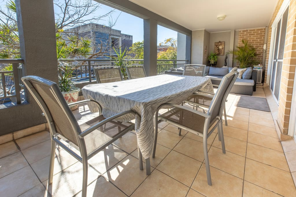 The balcony is very spacious with a second dining table for the option of dining outdoors al fresco!