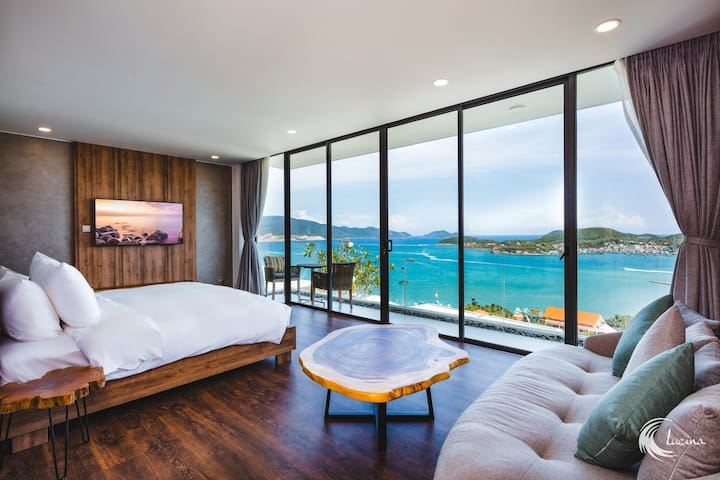Large bedroom with seaview