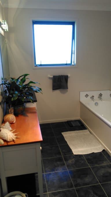 Huge bathroom with bath and shower, great pressure. Separate toilet.