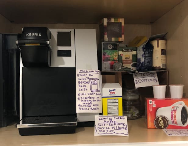 Commercial Keurig with Auto refill of filtered water & Keurig Coffee cups.