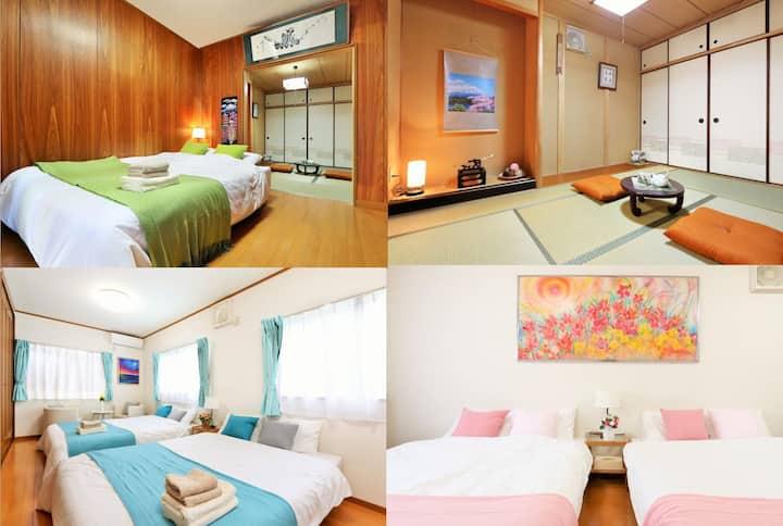 120㎡ [Sakura House] Direct bus to Dotombori  4LDK
