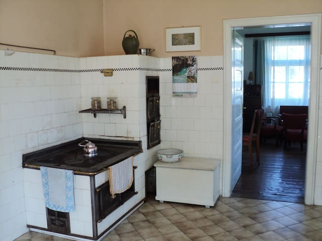 We still use the old stove in winter to cook and heat the kitchen at the same time.