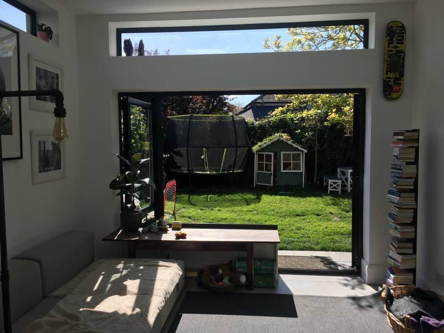 Doors slide open to enjoy the garden
