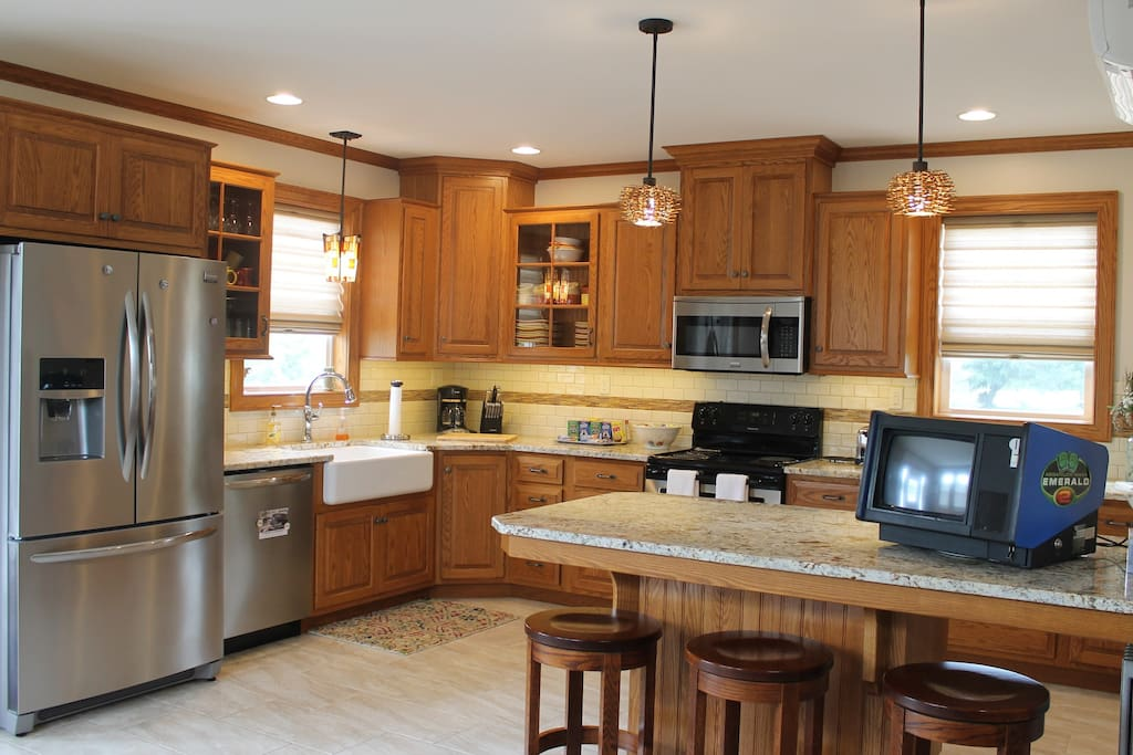 Large kitchen with all the tools you need to make a great homemade meal