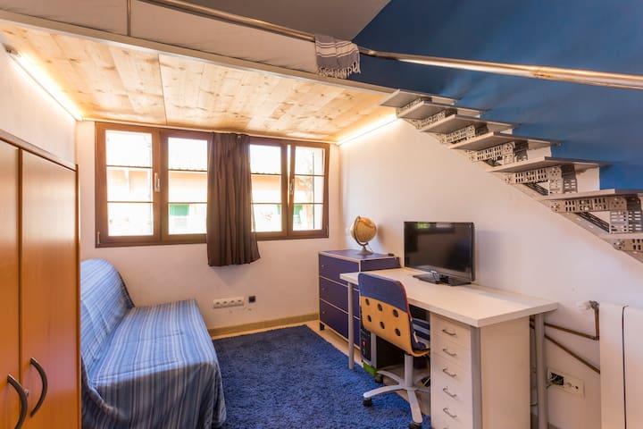 Habitación doble con cama en buhardilla