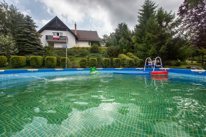 Lake's view house - with heated swimming pool - Łapalice - House
