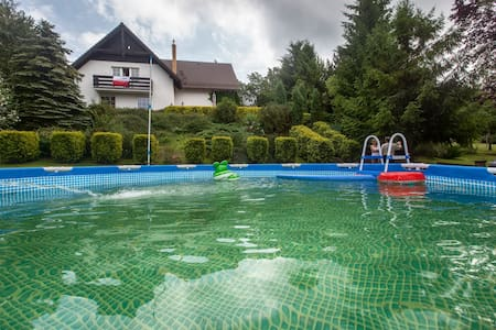 Lake's view house - with heated swimming pool - Łapalice - Rumah