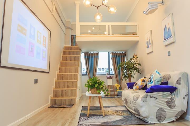 Cozy•小窝。时代创客公寓—灰色简约复式小屋
