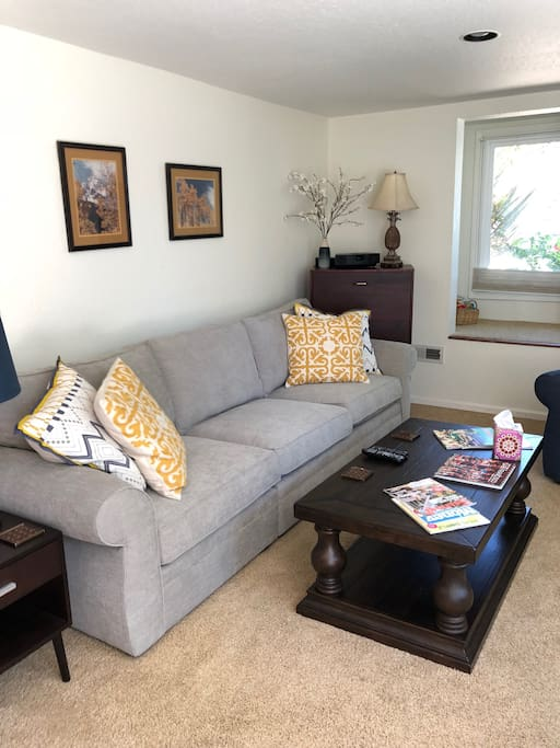 Large and bright living room with window seat. Separate furnace dedicated to apartment to keep you comfortable.