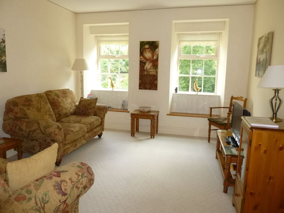 Wonderfully clean and comfortable, the lounge has two sofas and free view TV.
