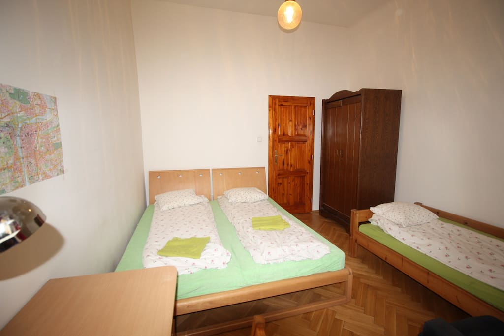 your  room 3 beds , wardrobe, writing table in apartmen 3.1 A for 3 persons,