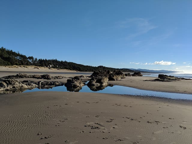 looking south along beach just down from Seal Rock State Park, access to this beach is one lot to the south of the cottage to path leading down.