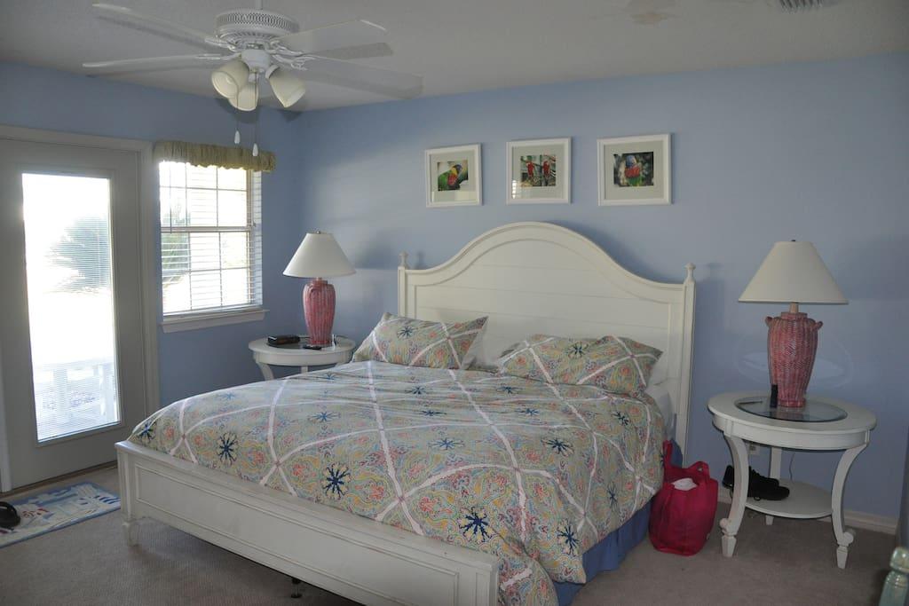 Master bedroom- king bed, private bathroom