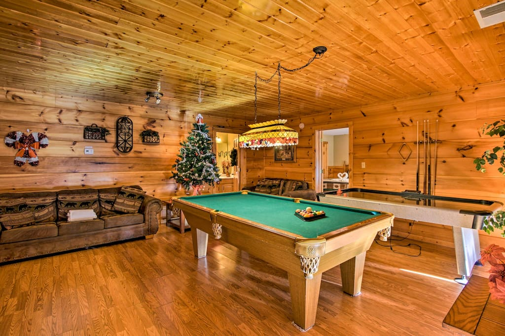 Play a round of pool with a partner downstairs in the basement.
