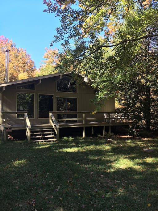 Front of the cabin in early Fall.