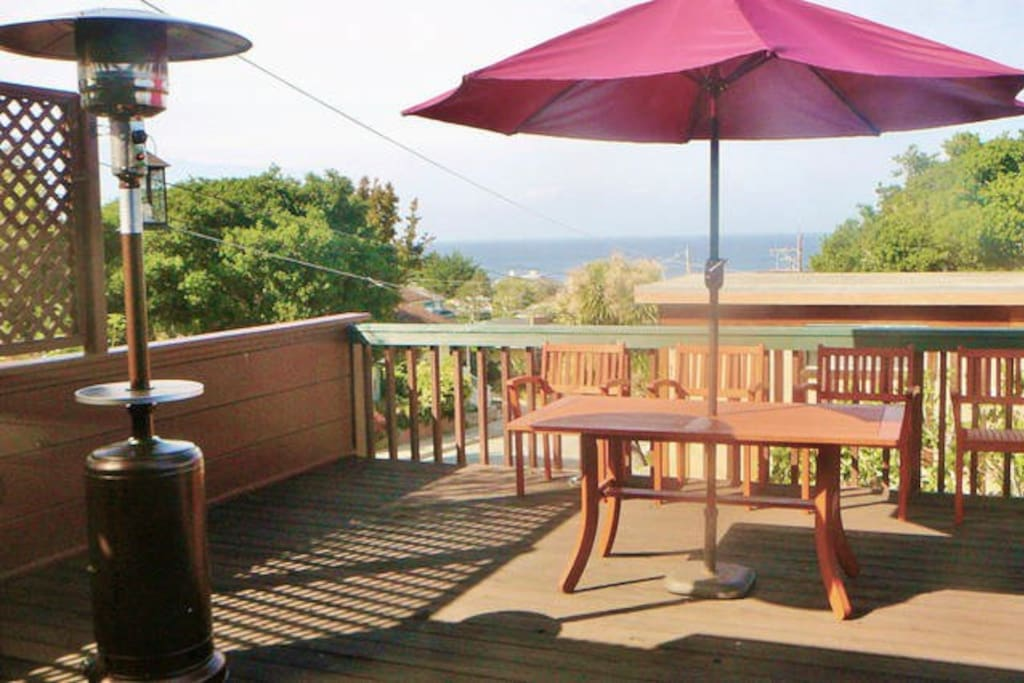 fresh bay breezes ~ whale sightings~ gourmet grill ~  table for 4 with cafe umbrella ~ outdoor heater ~ space for yoga ~ all available on fabulous deck