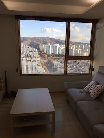 고층의 환상뷰와 지하철역 1분거리 고급 아파트(거실+주방+방1)