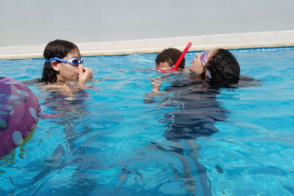 Family and kids spend more time around pool .. Joyful time seeing  their smile and hearing their laughing helps relief all day and work stress..