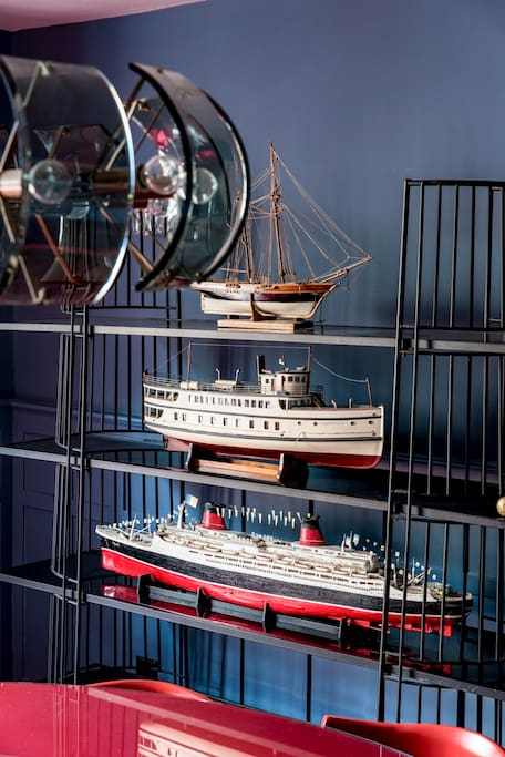 Collection of model boats in the Dining Room