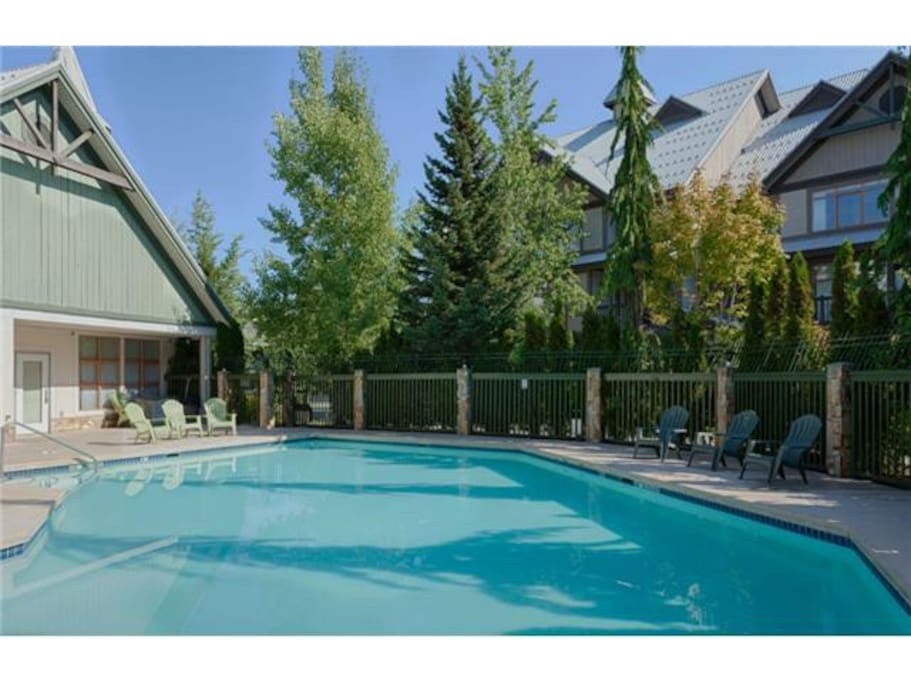 One of the biggest pools and hot tubs in Whistler (heated year round).