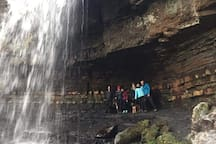 Some of our New Year Guests enjoying Ashgill Force, just a few minutes walk from the cottage.