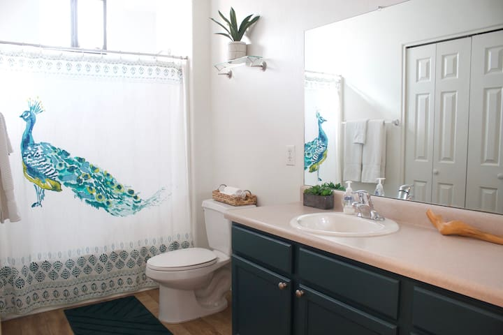 Downstairs bathroom, two sinks
