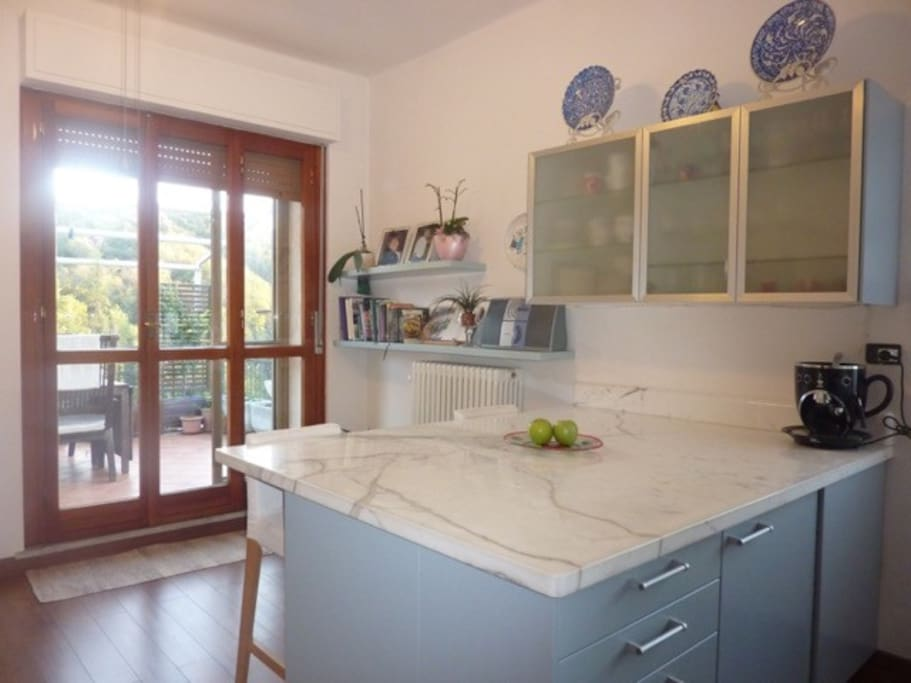 Spacious fully equipped kitchen with access to Terrace
