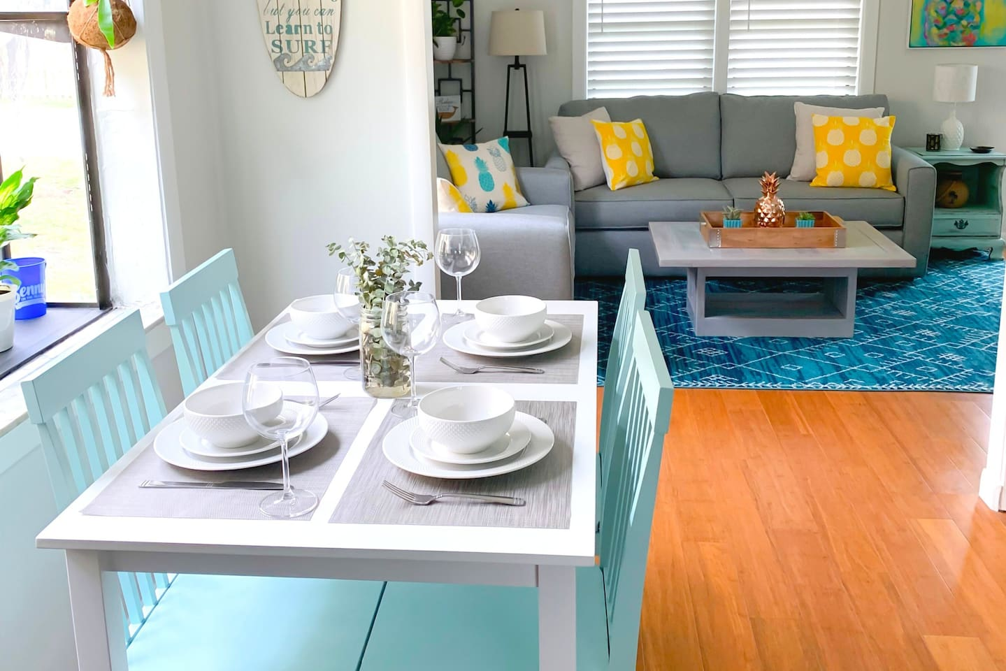 Dining room table in the eat in kitchen.  Open to the living area.