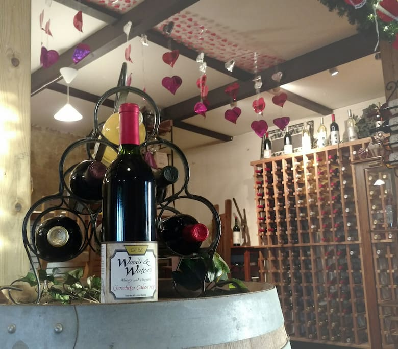 Tasting room decorated for Valentine's Day