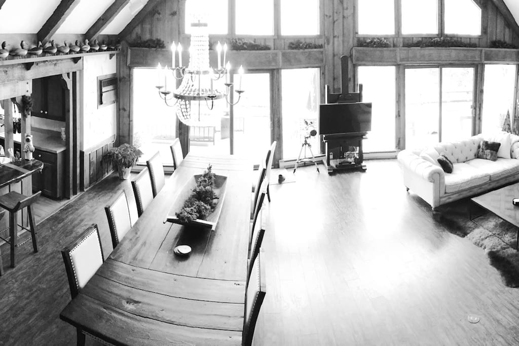 12-Person Reclaimed Wood Dining Table and attached Great Room