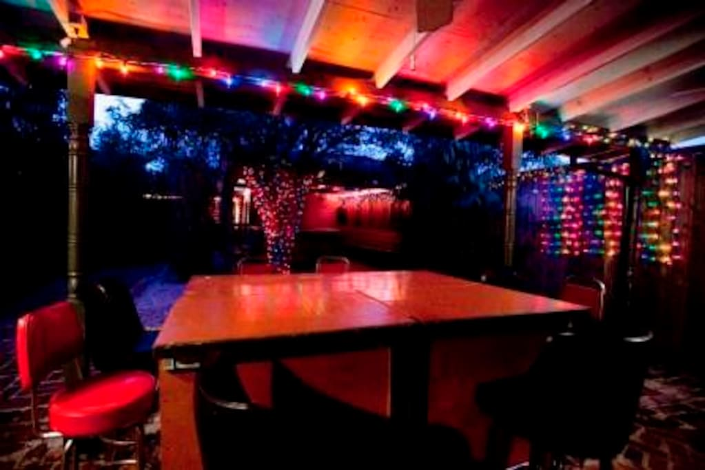 Outdoor bar with lights
