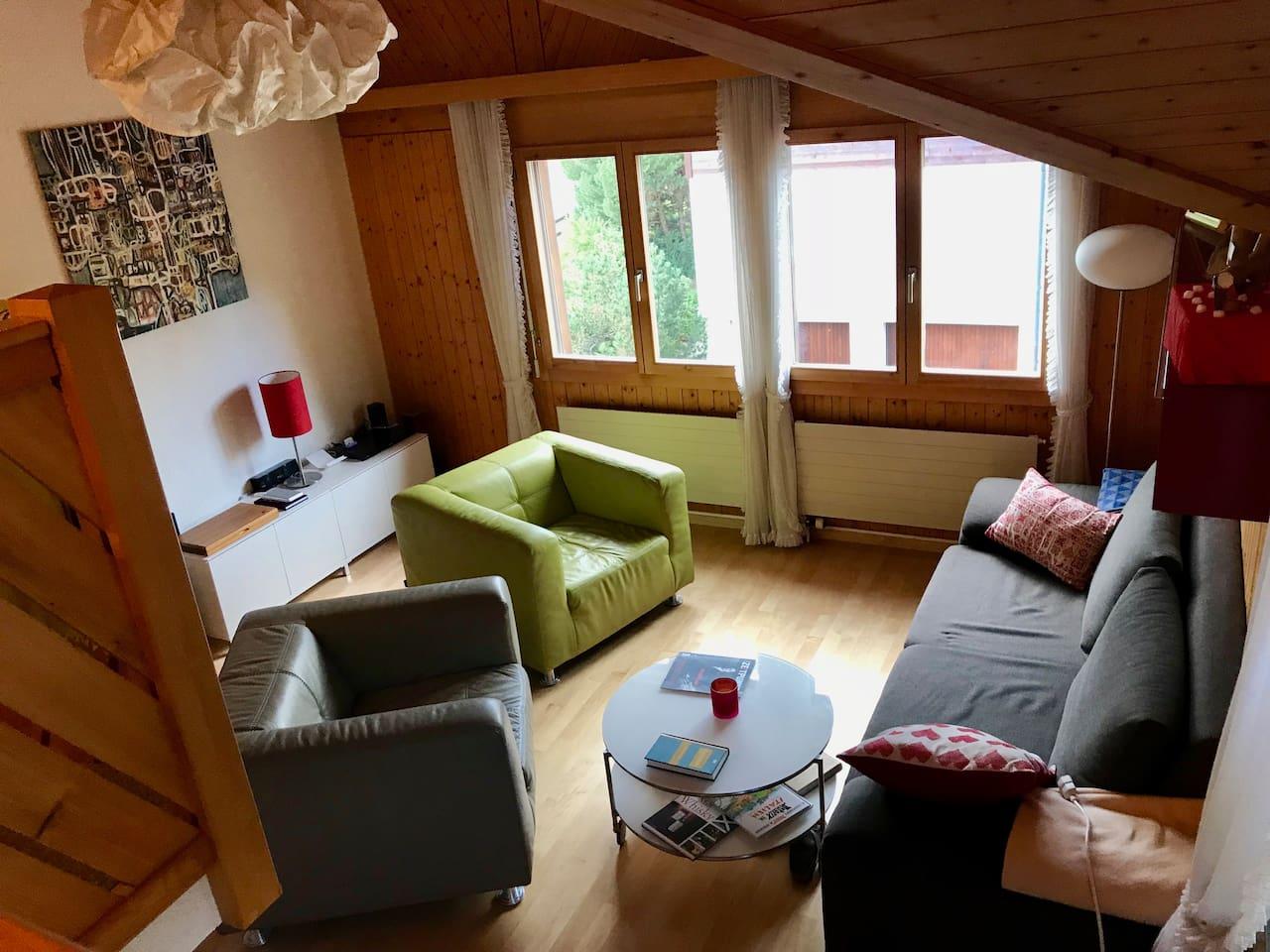 Gemütliches Wohnzimmer mit Ausziehsofa