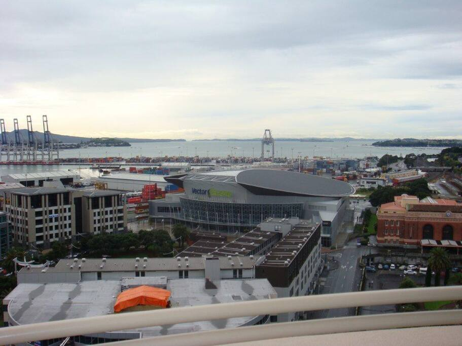 View from balcony to Vector Arena and Waitemata Harbour