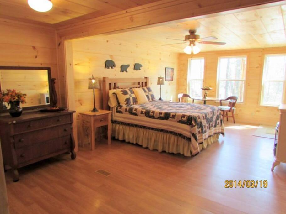 Master Bedroom with ensuite full bathroom opens to the hot tub and deck!