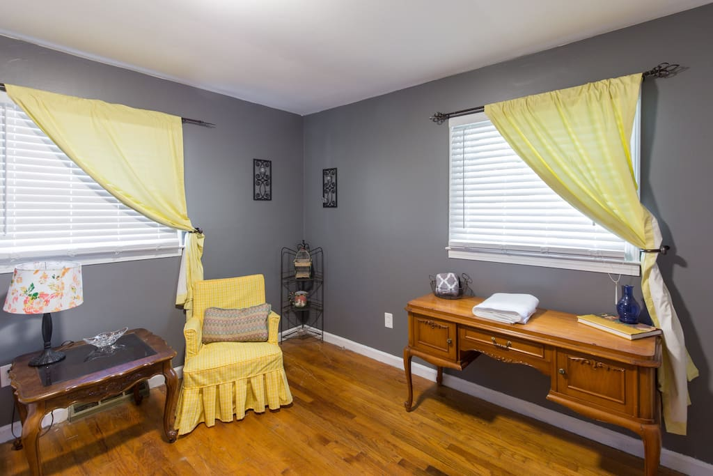 This bedroom has a Twin bed and desk space. It is also the perfect space for a pack in play for the little ones. We provide toys and baby gear to help make traveling easier with your little one!