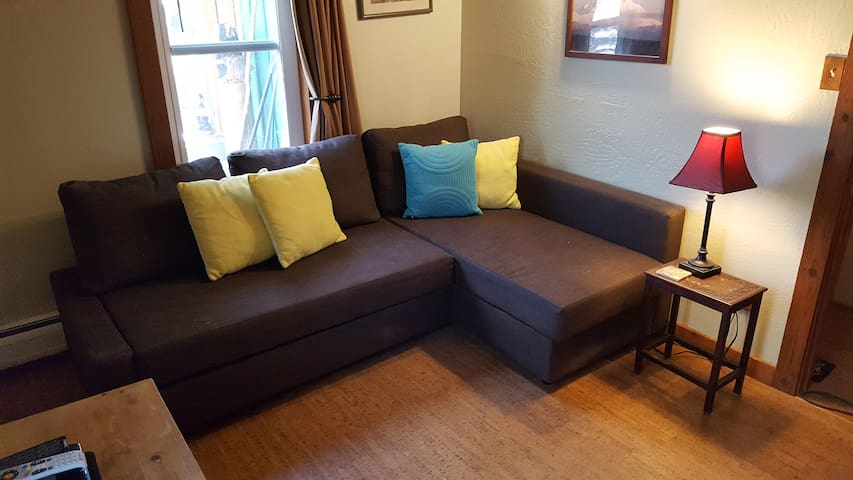 This couch turns into a Queen bed