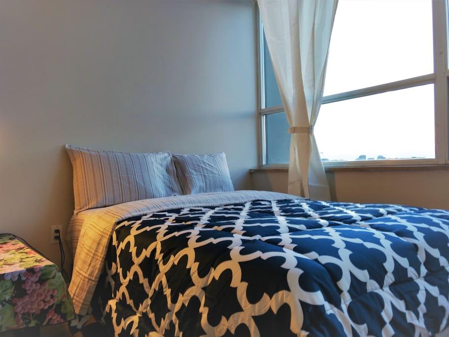 Full bed in living room!