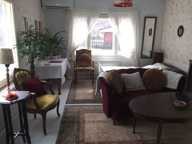 Livingroom with 120cm bed and fireplace