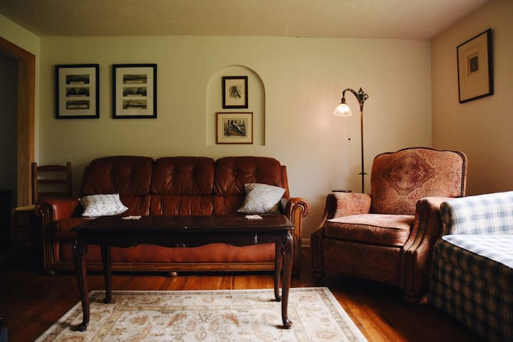 Comfortable living room seats after spending a fun day discovering the land and the river.
