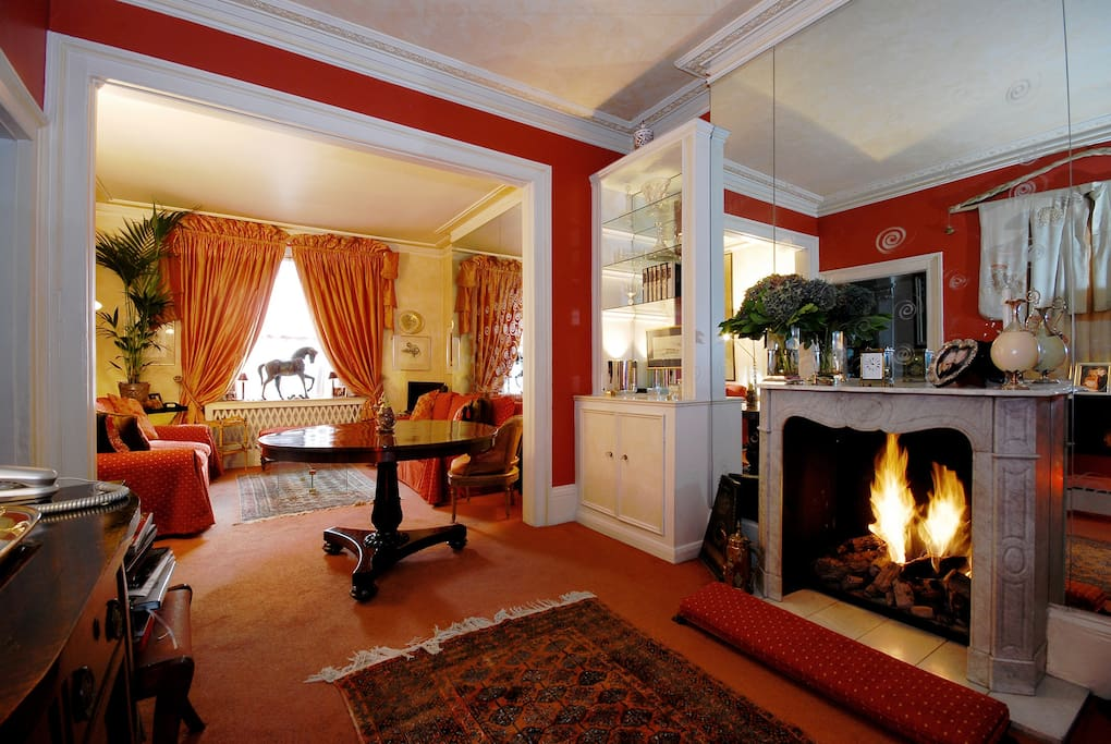 Beautiful reception room with fire place.