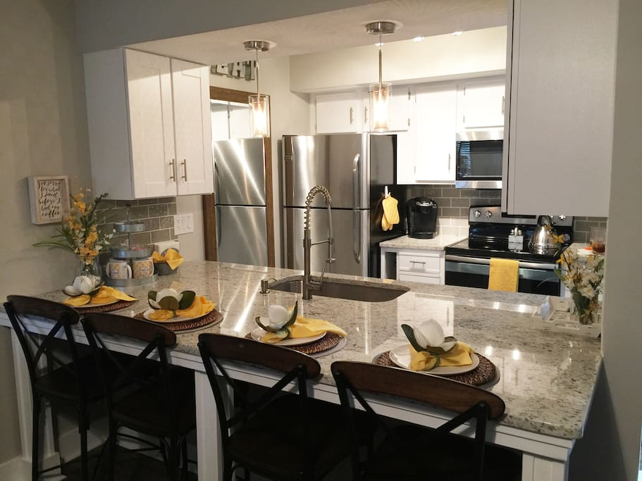 Beautiful kitchen equipped with all you need to prepare a full meal - or snack.