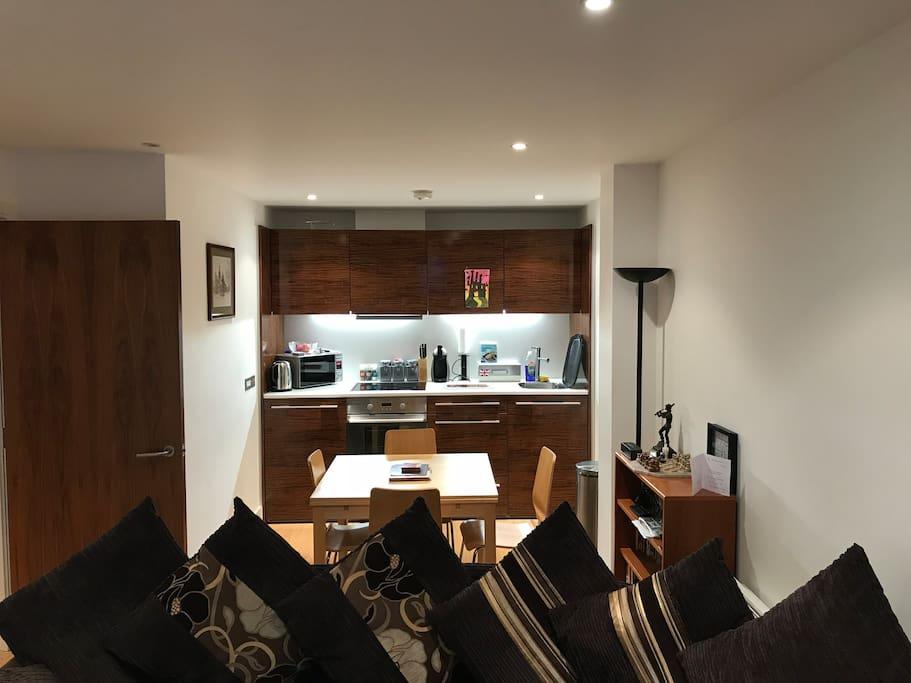 Cooking area,hob, fridge, etc